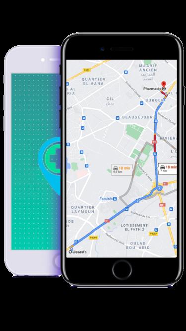 Pharmacie de garde Casablanca map mobile