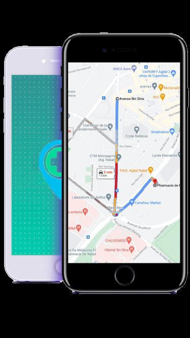 Pharmacie de Garde Rabat - application map